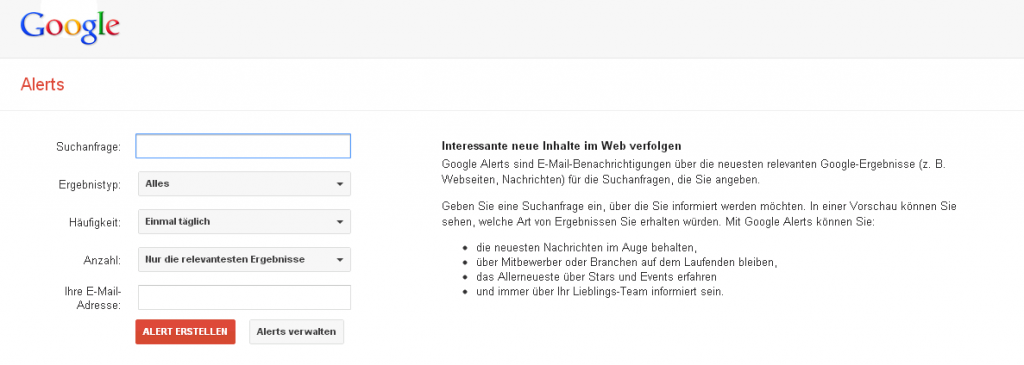 Social Reputionen Monitoring mit Google Alerts